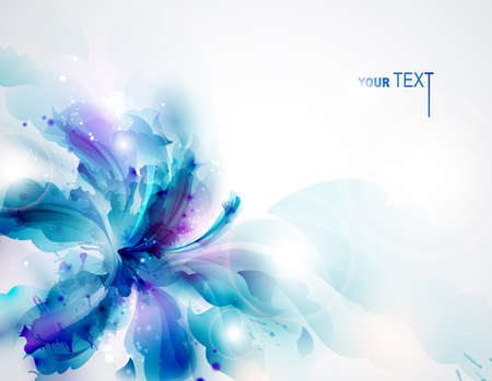 abstract flowers: Background with blue abstract flower  Illustration