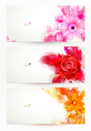 set of three banners, abstract headers with flowers and artistic blots Vector