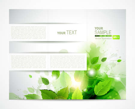 eco brochure with branch of fresh green leaves  Stock Vector - 14225885