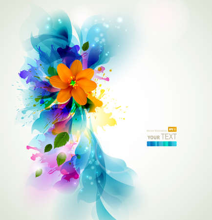 Tender background with orange abstract flower on the artistic blobs Illustration