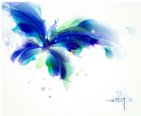 watercolor blue: Abstract butterfly with blue and cyan blots