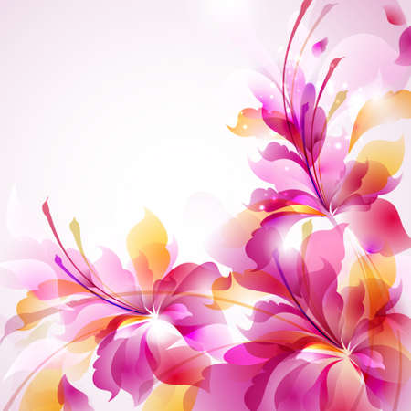 Tender background with three abstract flower