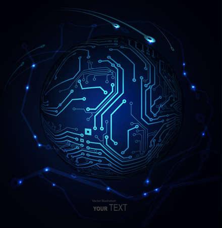 fondo azul abstracto de las tecnologías digitales Ilustración de vector