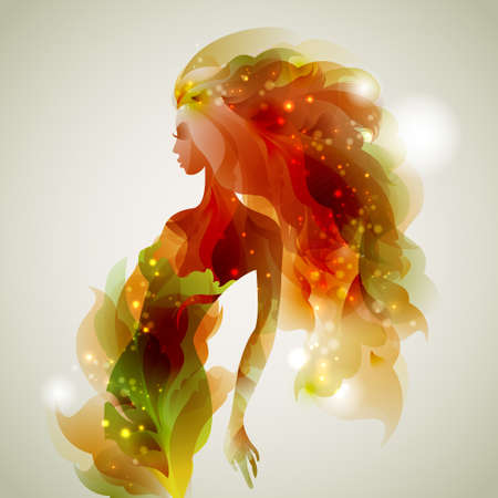 女の子と抽象的な装飾的な構成  イラスト・ベクター素材