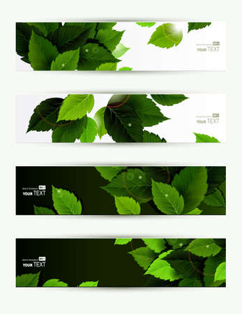 Headers set of four banners of the environment  Vector
