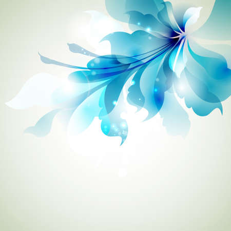 Tender background with blue abstract flower Vector