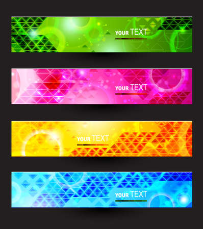 Headers set of four color banners of the abstract  Vector