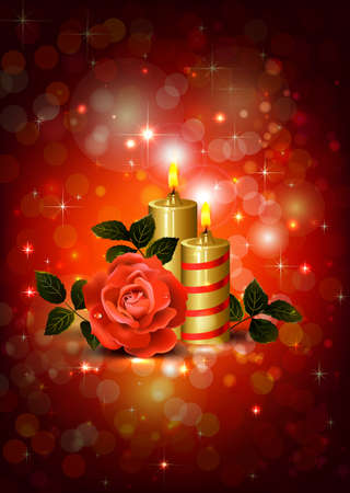 greeting-card with rose and candles of The Valentine s day  Vector