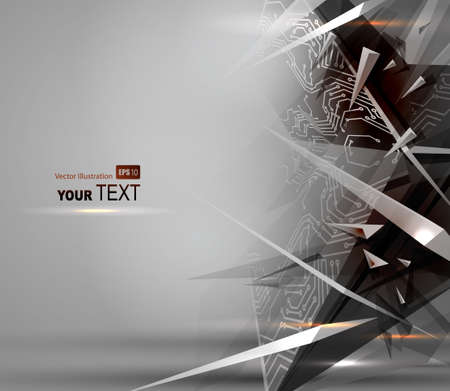 Gray Abstract background of digital technologies  Illustration