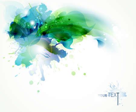 abstrakcje: Abstrakcyjne tło z niebieskimi i zielonymi plamami Ilustracja