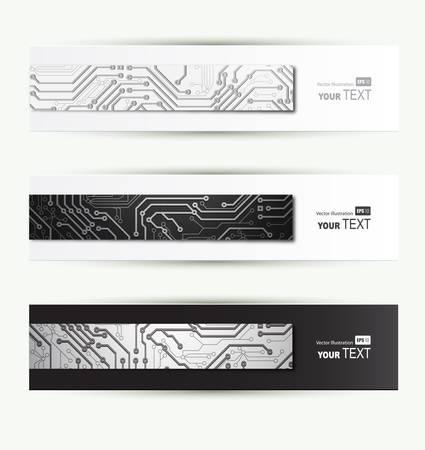 set of three Headers of the of digital technologies Vector