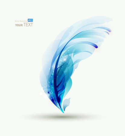 creative writing: One Abstract blue writing feather