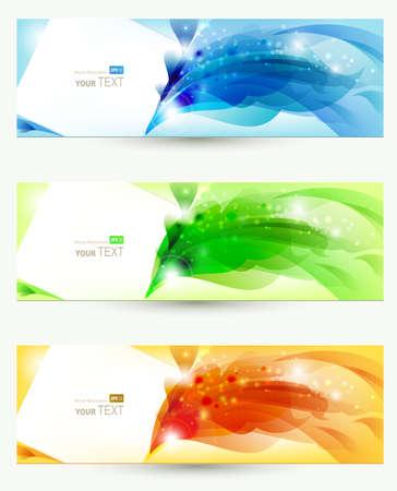 web header: conjunto de tres banners, encabezados abstractos