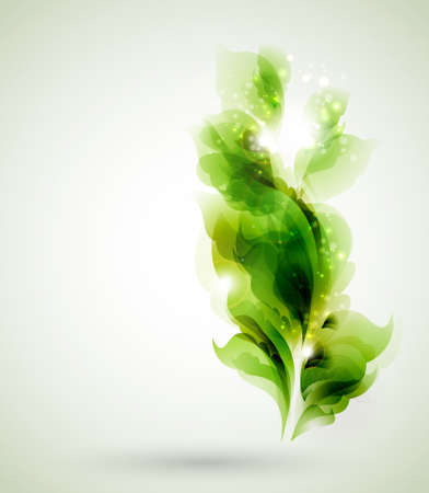 green branch with abstract leaves