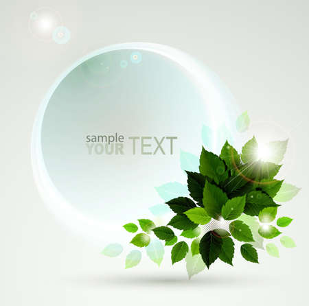 spring design with fresh green leaves