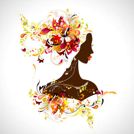 decorative composition with girl  Vector
