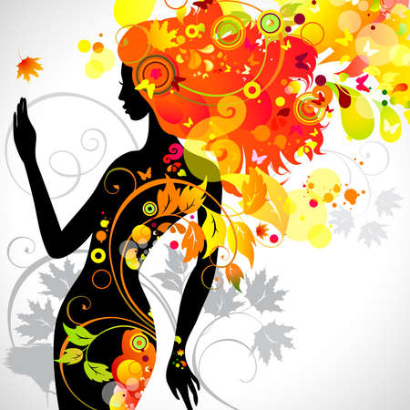 botany woman: autumn decorative composition with girl  Illustration