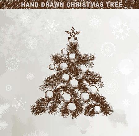 Hand drawn Christmas tree with balls, stars Stock Vector - 14548667