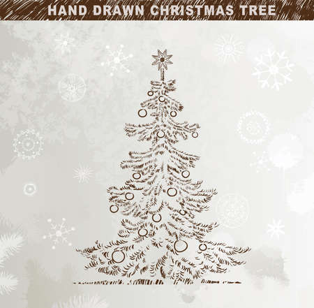 Hand drawn Christmas tree with balls  Stock Vector - 14548662