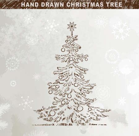 Hand drawn Christmas tree with balls Stock Vector - 14548662