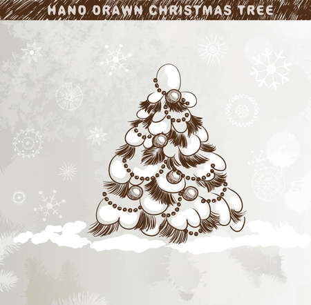 Hand drawn Christmas tree with balls under the snowdrift  Vector