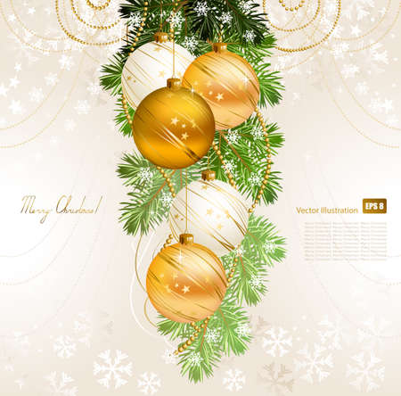 light Christmas background with gold and white evening balls  Vector