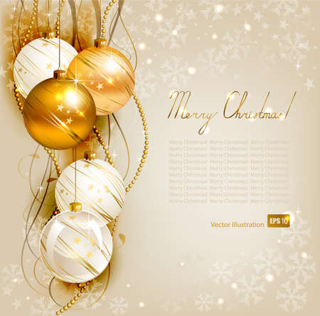 christmas ornaments: elegant Christmas background with gold and white evening balls