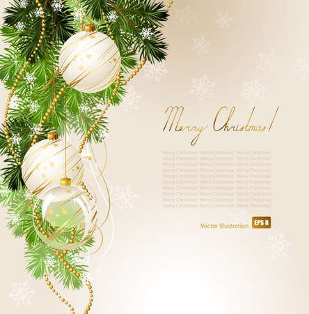 fir tree balls: light Christmas background with white evening balls