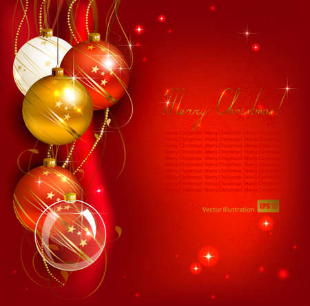 red Christmas background with gold and red evening balls  Vector