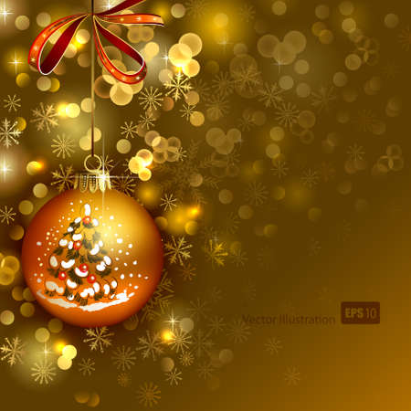 bright Christmas background with gold evening ball  Illustration