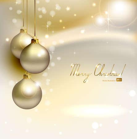 navidad elegante: brillaba elegante fondo de Navidad con tres bolas de la tarde Vectores