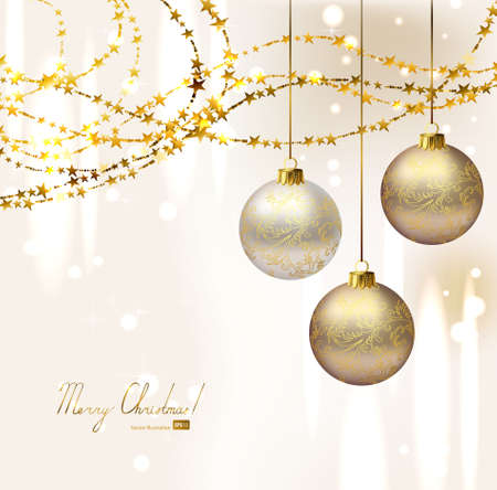 elegant Christmas background with three evening balls and gold garlands  Vector