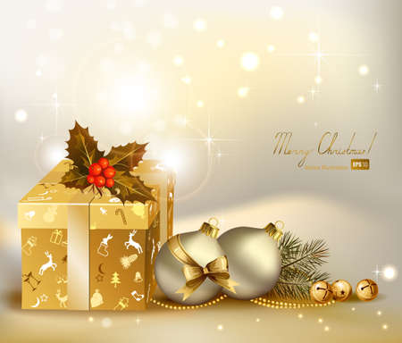 light Christmas background with two evening balls and gifts  Vector