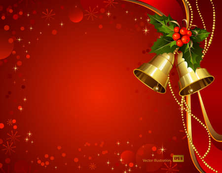 festive bells with Christmas holly  Vector
