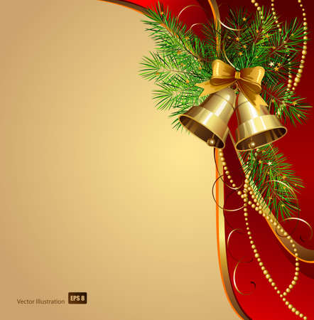 festive bells with Christmas fir tree  Vector