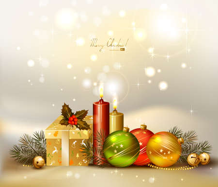 light Christmas background with evening balls, candles and gift  Vector