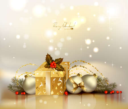 light Christmas background with evening balls, holly and gift  Vector