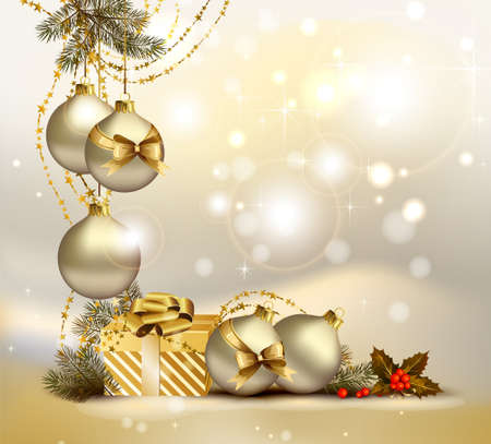 light Christmas background with evening balls, holly and gift  Illustration