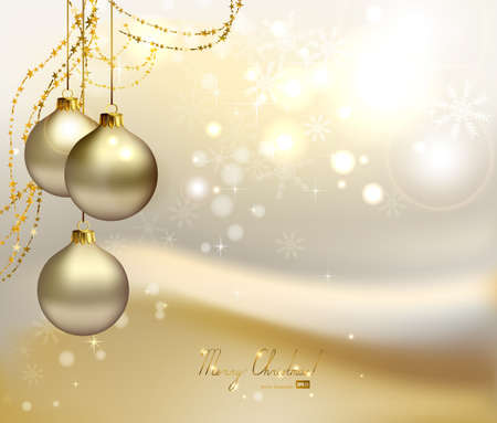 christmas ball: elegant Christmas background with three evening balls and gold garlands