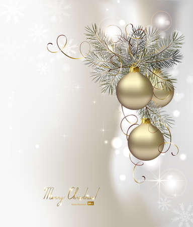 silver balls: light Christmas background with silver evening balls  Illustration