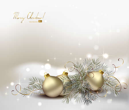 light Christmas background with still life of silver evening balls and fir tree  Vector