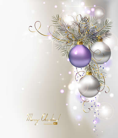 light Christmas background with three evening balls  Vector