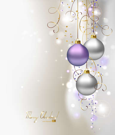 elegant glimmered Christmas background with three evening balls  Vector