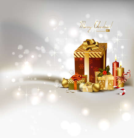 waxen: light Christmas background with burning candles and Christmas gifts