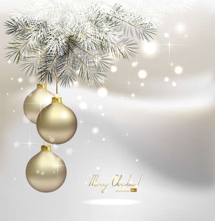 christmas fir: light Christmas background with silver evening balls  Illustration