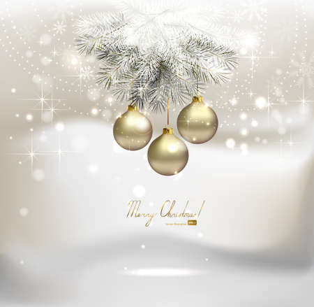 light Christmas background with silver evening balls  Vector