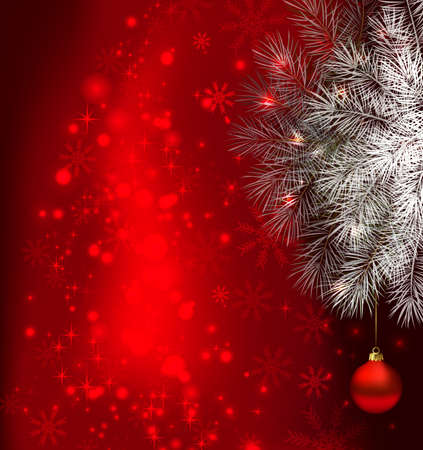 red Christmas background with fir tree and evening ball  Vector