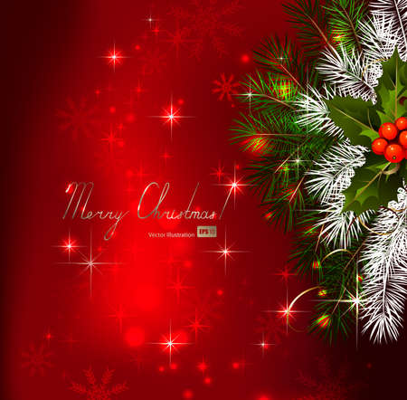 Red background with Christmas fir tree and holly Stock Vector - 14548584
