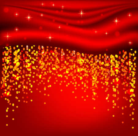 background with red curtain and shiny garlands Stock Vector - 14548544