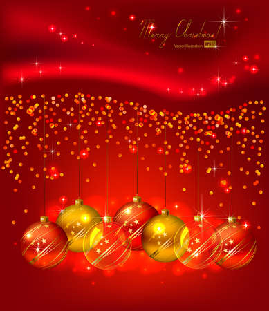 glimmered: Red background with Christmas balls  Illustration